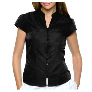 Women's continental blouse mandarin collar cap sleeve Thumbnail
